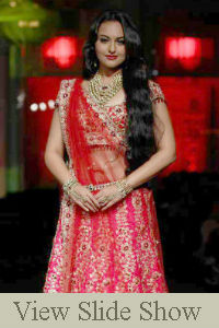 Sonakshi Sinha walked the ramp for designer Jyotsna Tiwari on Day 2